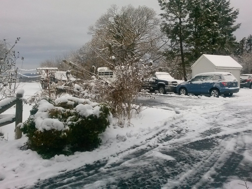 """Second snow (Storm CATO) 11-26-14 = 5"""" melted down to 3"""""""